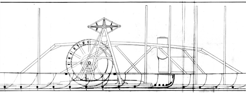 Drawing of a side view of the Mary Powell showing hull supports, hogframe, walking beam & paddlewheel. Donald C. Ringwald Collection, Hudson River Maritime Museum.