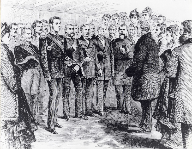 Reception of the Grand Duke Alexis on Board the Mary Powell, December 9, 1871. Drawn by C.S. Reinhart for Harpers Weekly. Hudson River Maritime Museum collection.