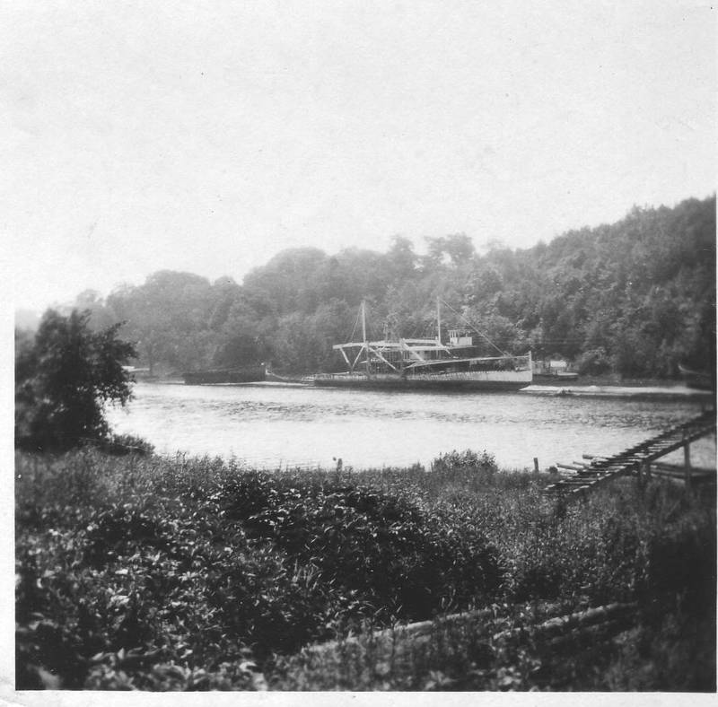 Remains of Mary Powell along Rondout Creek. Photo taken by E. Winter's Sons, Kingston, July 1, 1924. Donald C. Ringwald Collection, Hudson River Maritime Museum.