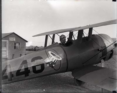 Lowell Thomas in an airplane