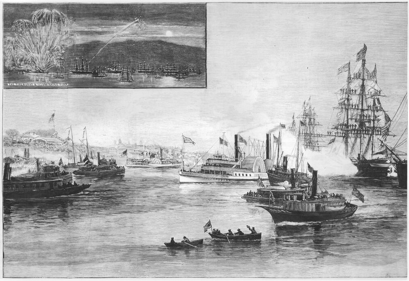 Mary Powell in the middle of a naval parade at Newburgh for centennial of the end of the Revolutionary War. Donald C. Ringwald Collection, Hudson River Maritime Museum.