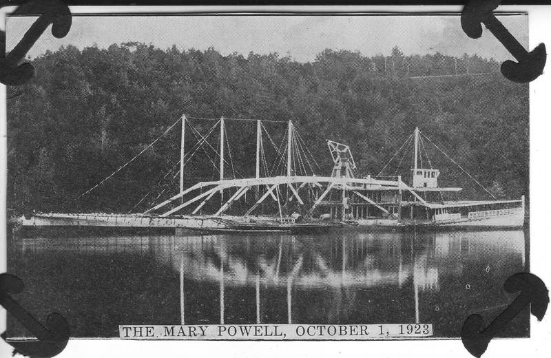 Mary Powell being dismantled on Rondout Creek, October 1, 1923. Wilton Collection, Hudson River Maritime Museum.