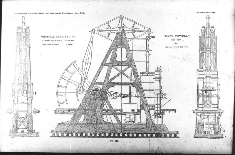 Schematic of the Mary Powell's engines, 1861, by the American Society of Mechanical Engineers. Donald C. Ringwald Collection, Hudson River Maritime Museum.