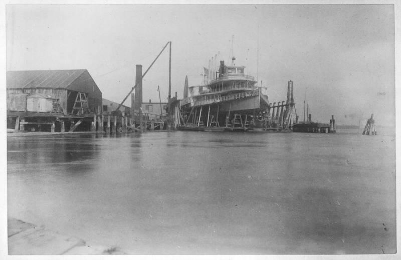 Mary Powell in drydock at Elizabethport, N.J. having hull rebuilt, 1897. Donald C. Ringwald Collection, Hudson River Maritime Museum.