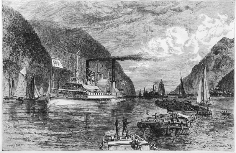 Illustration of the Mary Powell as seen from Capt. Anderson's residence Fair View, near Port Ewen , Beers Ulster County Atlas, 1875. Donald C. Ringwald Collection, Hudson River Maritime Museum.