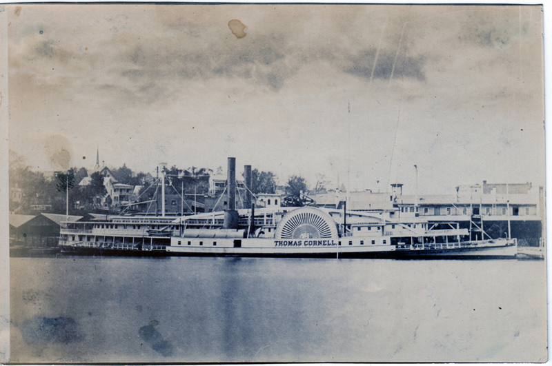 Steamboat Thomas Cornell at dock. Saulpaugh Collection, Hudson River Maritime Museum.