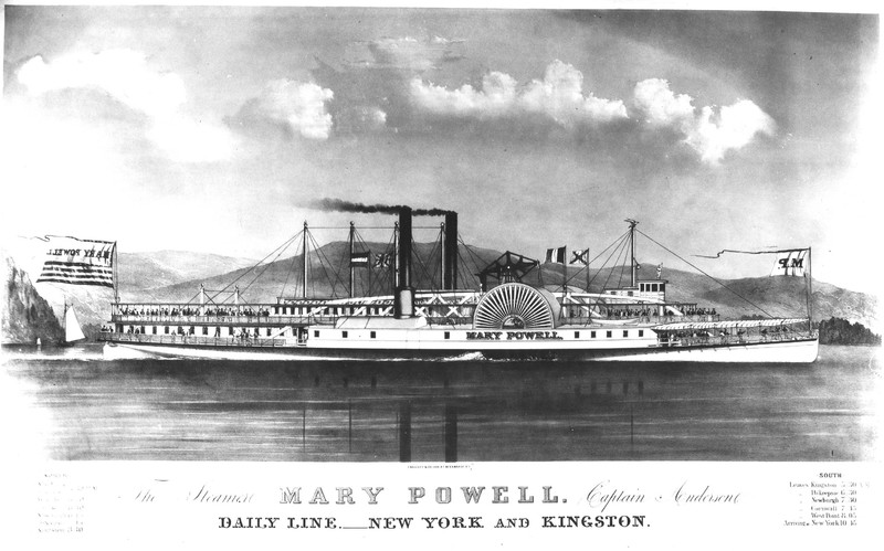 Advertising lithograph by Endicott & Co. of the Mary Powell underway. Donald C. Ringwald Collection, Hudson River Maritime Museum.