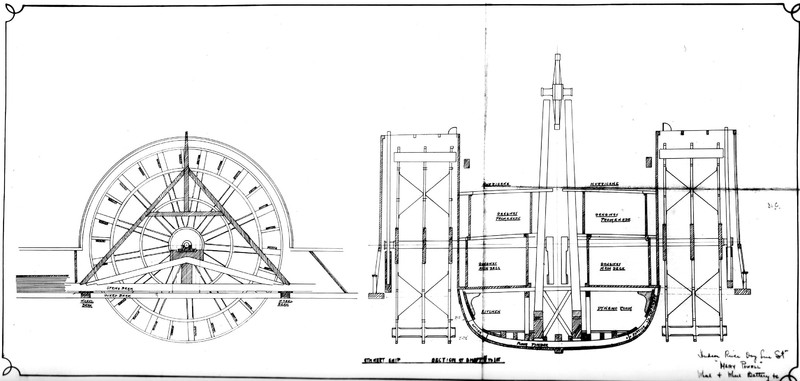 Detail drawing of the side view of the Mary Powell showing hull supports, hogframe, walking beam & paddlewheel. Donald C. Ringwald Collection, Hudson River Maritime Museum.