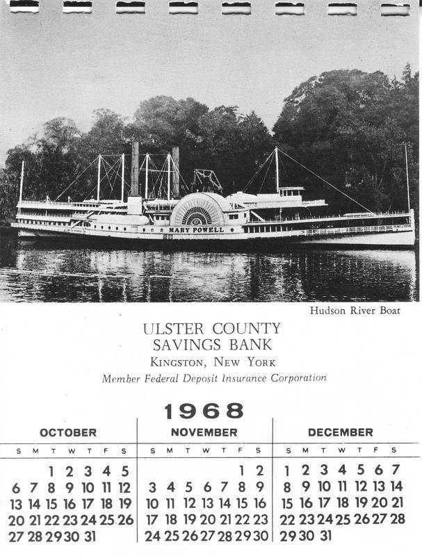 Promotional calendar from Ulster County Savings Bank, 1968, featuring the Mary Powell. Donald C. Ringwald Collection, Hudson River Maritime Museum.