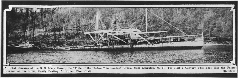 """From the Boston Herald, May 3, 1925 – """"All that remains of the S. S. Mary Powell, the 'Pride of the Hudson.'"""" Shows the Mary Powell in process of being scrapped. Donald C. Ringwald Collection, Hudson River Maritime Museum."""