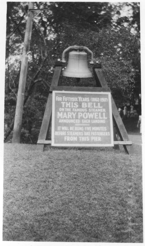 Bell of the Mary Powell on display at Indian Point Park, a Hudson River Day Line landing and recreational park. Donald C. Ringwald Collection, Hudson River Maritime Museum.