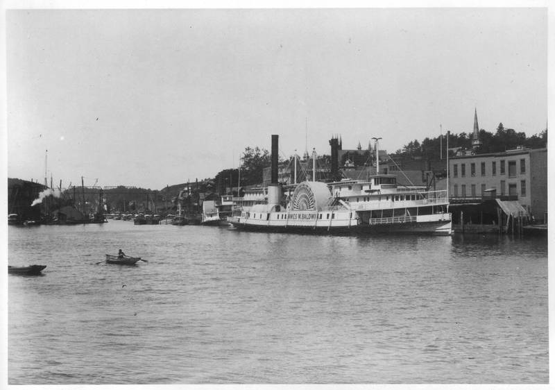 Steamboat James W. Baldwin at dock in Rondout, A.B. Valentine, H.T. Caswell astern, looking west. Donald C. Ringwald Collection, Hudson River Maritime Museum.