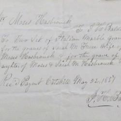 Receipt for headstones, 1837